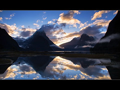 bliss (Daniel Murray (southnz)) Tags: park sunset sea newzealand cloud mist mountain snow reflection water rock stone landscape coast scenery national nz sound southisland milford fiord fiordland southnz
