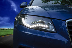 Technology in Cars (BorjaxS) Tags: madrid espaa detalle azul faro luces lluvia led gotas coche fondo automvil elegante luminoso tecnologa iluminar elegancia vehculo innovacin automocin farodecocheluz