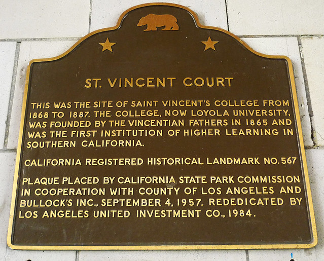 Plaque located at St. Vincent Court commemorating it as a California historical landmark.