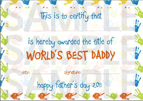World's Best Daddy Printable Certificate (A4)