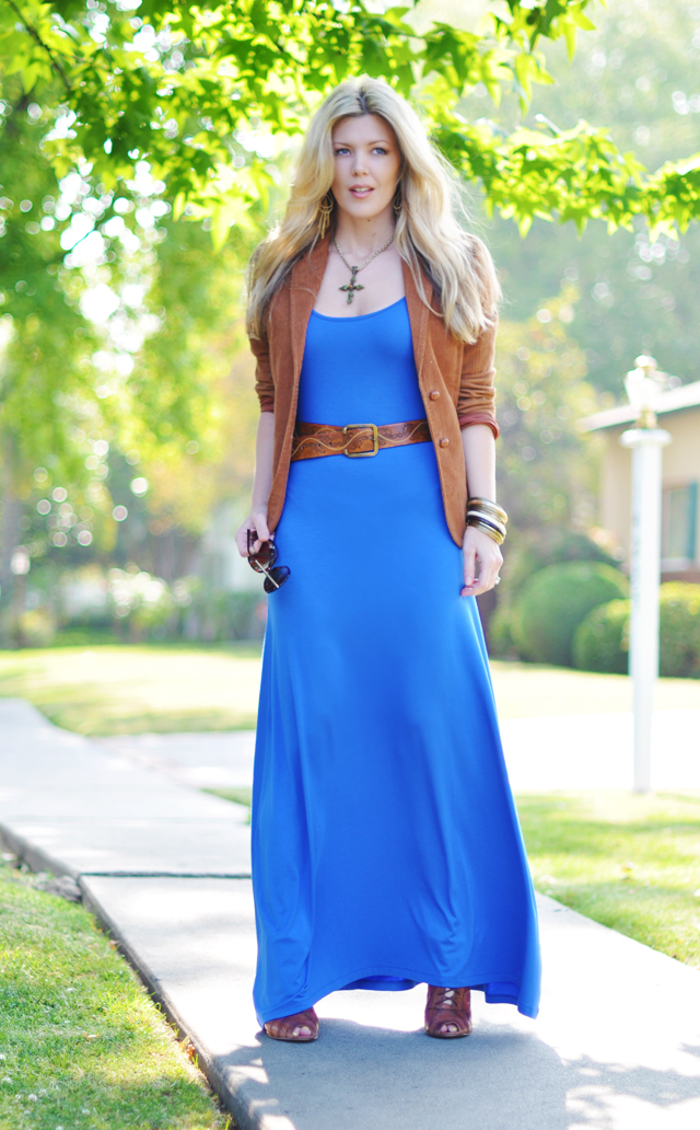 electric blue maxi dress with cognac accessories