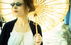 With Parasol and Sunglasses