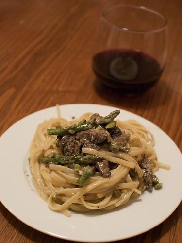 morels and asparagus pasta