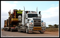 Exact Mining Services (Tom O'Connor.) Tags: port cat truck canon lens eos highway crossing under twin down front stuart mining end land augusta trucks parked kit sa loader bound exact services trucking truckers kenworth eyre whyalla 2011 yorkeys t908 1000d 992g
