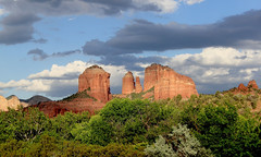 My Studio Has Really Good LIght (sedonakin) Tags: blue sunset arizona sky sunlight southwest nature clouds forest canon fence landscape shadows sedona vista redrocks cathedralrock oakcreekcanyon arizonalandscape southwesternlandscape julielake