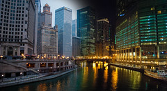 dia e noite (happyflum) Tags: city chicago reflection rio night buildings lights luces noche us edificios day unitedstates ciudad dia reflejo trump estadosunidos