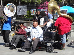 Brass band. New Orleans. (denisbin) Tags: neworleans band jazz frenchquarter africanamerican tuba jazzband saintlouissquare