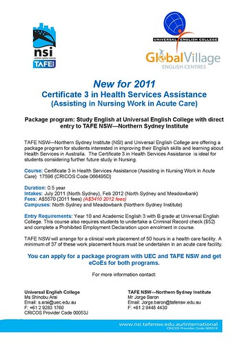 Certificate 3 in Health Services Assistance - UEC