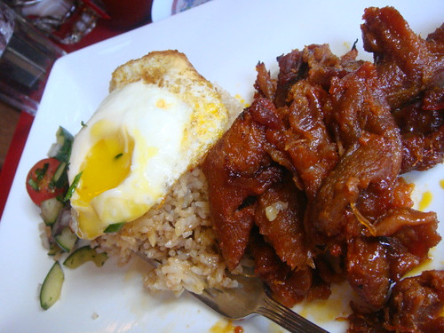 Ilog Breakfast served with sunny side up quail egg & rice and tocilog-tocino, a 7-up cured pork tenderloin