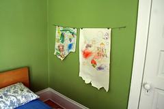 Finn's Art Wall (Deucecities Henhouse) Tags: blue red yellow kids modern room bookshelf littlepeople uglydoll fisherprice easel expedit malmbed nurserygreen