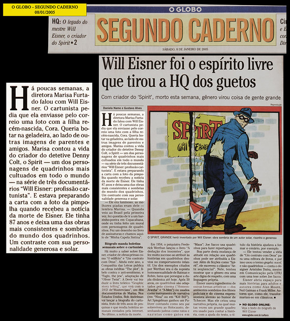 """""""Will Eisner foi o espírito livre que tirou a HQ dos guetos"""" - O Globo - 08/01/2005"""