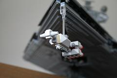 Star Destroyer loaming over the Tantive IV (marvelousRoland) Tags: starwars lego stardestroyer ucs imperialstardestroyer rebelblockaderunner 10030 tantiveiv