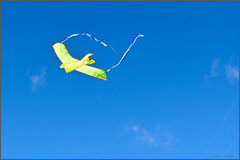kite (Gerrit...!) Tags: blue sky sun kite yellow clouds flying nikon wind line nikkor 42mm d7000 18200mmf3556gvrii