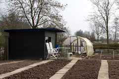 Greenhouse, organic community garden (!.Keesssss.!) Tags: tree nature netherlands horizontal outdoors photography chair day mud arnhem nopeople dirt greenhouse organic agriculture gettyimages gelderland absence tranquilscene royaltyfree communalgarden colorimage builtstructure theflickrcollection keessmans 161ksgetty