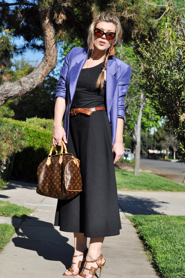 fishtail braid with black dress and brown accessories