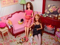 Rement knitting & kittens scene #2 (Bridget_John316) Tags: barbie kitties mackie rement diorama steffie birthstonebeauty