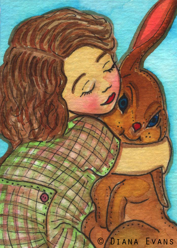 ACEO A girl and her bunny 600