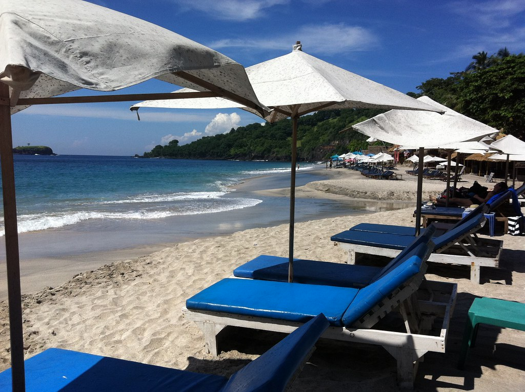 Empty deckchairs at White Sand Beach, Candi Dasa, Bali