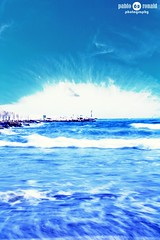 Blue (Pablo  Ronald) Tags: blue sea summer sky espaa seascape beach water azul mar moving spain agua europa europe waves huelva playa movimiento cielo nubes verano olas seda ayamonte waterscape puntadelmoral pabloronald