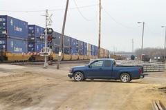 "Stacker and ""Jimmy,"" West Beverly Yard, Cedar Rapids, Iowa, 4/8/11 (timdcarman) Tags: railroad up pacific union iowa canyon rapids cedar beverly gmc"