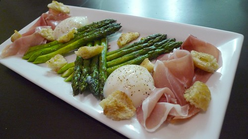 Grilled Asparagus, Prosciutto, 63-degree Egg and Torn Croutons