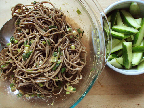 Ginger-scallion noodles with quick pickles | md kitchen