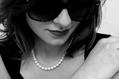 (ii) Day 156 - belle (can't stop the beek) Tags: light shadow portrait blackandwhite bw sunglasses mystery female self hair neck nose hand feminine creative shades lips pearls mysterious sultry 365 brunette coy