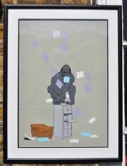 Office monkey (id-iom) Tags: street uk london art paper graffiti office stencil cabinet vandalism boxes spraypaint brixton idiom minkey filin