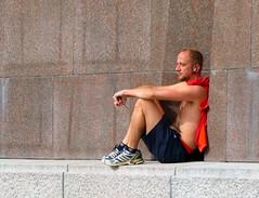 . (AFIK  BERLIN) Tags: city shirtless hot berlin guy sunshine weather break sunbath april rest jogging treptow jogger springtime bloke mec ragazzo sowjetischesehrenmal cheb sovietmemorial to erkek shab