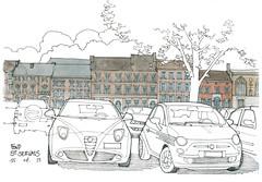Liège, Fond-Saint-Servais (gerard michel) Tags: auto sketch belgium rue liège croquis