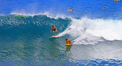 two at once (bluewavechris) Tags: ocean sea sun water fun hawaii surf action snake surfer board wave maui spray foam surfboard sponge thebay swell bodyboard honoluabay honolua bodyboarder