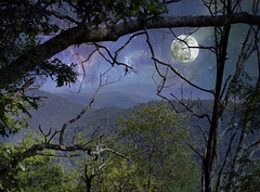 Moonlight and a bit more (h_roach) Tags: blue sky moon mountains night shadows nocturnal explore stary gettyimage photoshopcreativo