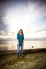 Model at the lake (Brady Withers) Tags: sunset sun water clouds canon utah model view wideangle saltlakecity greatsaltlake lightroom sigma1020 strobist canon7d slcphotoclub bwsterlingphotography