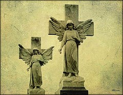 Guardians (MEaves) Tags: cemetery illinois midwest statues angels toned tombstones soe markers gravestones tinted textured watchers guardians sigma70300 abigfave k20d pentaxk20d pentaxart
