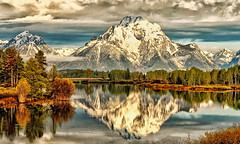 Oxbow Bend Clouds (Jeff Clow) Tags: trees mountains river landscape snakeriver wyoming mountmoran grandtetonnationalpark oxbowbend mtmoran jacksonholewyoming