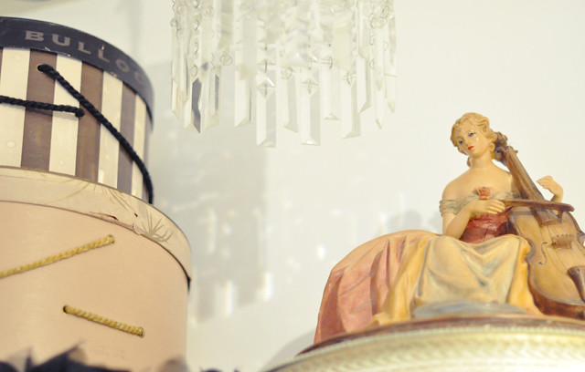 vintage hat boxes and vintage lady light