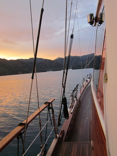 A beautiful sunset on a beautiful boat.