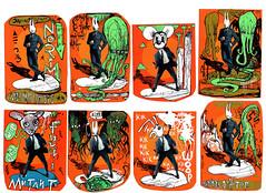 post nuke stickers aleister 236 mc1984 (mc1984) Tags: red orange toxic weird disaster cthulhu lovecraft radioactive monsters mutant hpl nyarlathotep mutation reused posca fuku mc1984 encredechine handmadestickers wererabbit atomicant toxicshoggothinsects aleister236 masterofstickers
