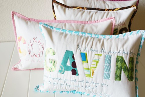 Joy of Love Quilted Monogramed Pillows Great Gift For New Baby