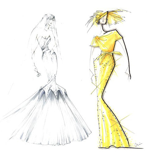 Wedding Dress Sketches - by Yigal Azrouël-Chris Benz for Kate Middleton