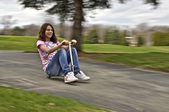 erin on the razor (cityNnature) Tags: motion girl outdoors dc spring shoes peace teenager skater 13 panning skateculture easterfun dwcffpanning