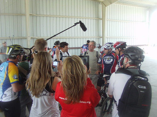 President Bush and some warriors give a pre-ride interview on Day One of the W100