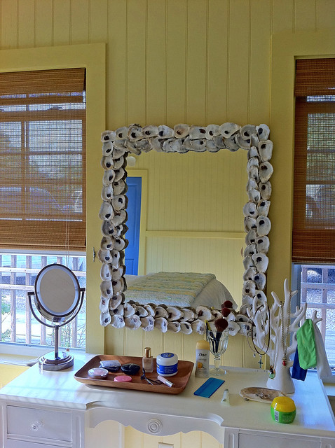 Guest Bedroom Oyster Shell Mirror Close Up