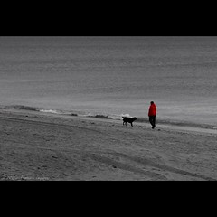 L'homme au chien (flo74.) Tags: red sea blackandwhite bw dog chien mer beach square rouge seaside noiretblanc nb normandie normandy plage carr aoi dsaturationpartielle artofimages