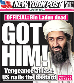 New York Post's front page coverage of the Bin Laden assassination by US forces., From ImagesAttr