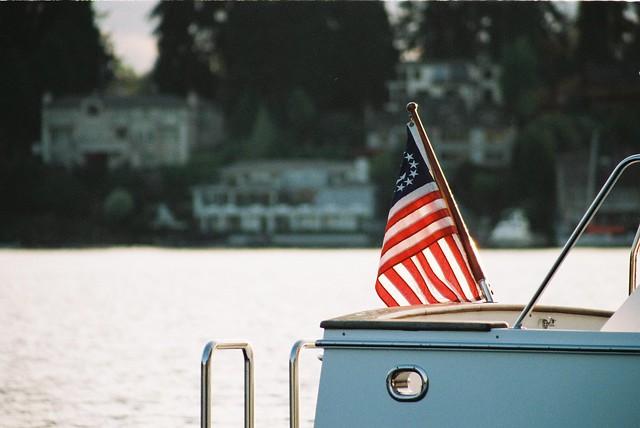 U.S. Flag at Dusk