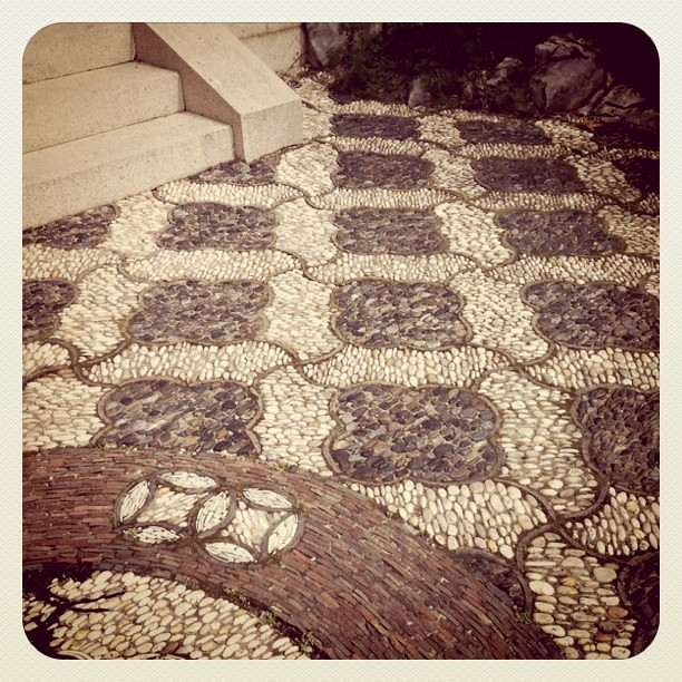 Pretty patterned pebble tiles at Chinese Scholar Garden, Snug Harbor, Staten Is.