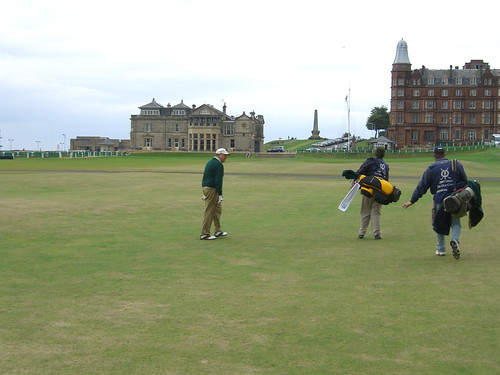 Paul contemplates approach shot on 18th at St. Andrews