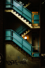 Bluey (DevilFishMark) Tags: blue light rot stairs dark graffiti steps step bluey grotty grot x100 bley