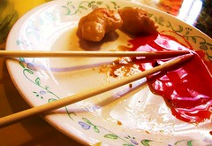 sweet and sour (suchalovelycolor4u) Tags: blue red brown white green chicken sauce tan plate chopsticks